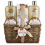 Home Spa Gift Basket - White Rose & Jasmine - Luxury 11 Piece Bath & Body Set For Women, Mother's Day Gifts with Shower Gel, Bubble Bath, Body Lotion, Scrub, Bath Salt, 4 Bath Bombs, Loofah & Basket