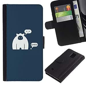 KLONGSHOP / Tirón de la caja Cartera de cuero con ranuras para tarjetas - Caveman Monkey Figurine Art Cartoon Character - Samsung Galaxy Note 4 SM-N910
