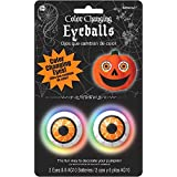 """Amscan Color Changing Eyeball Light Halloween Trick or Treat Party Pumpkin Carving (2 Piece), White, 1 3/4"""""""