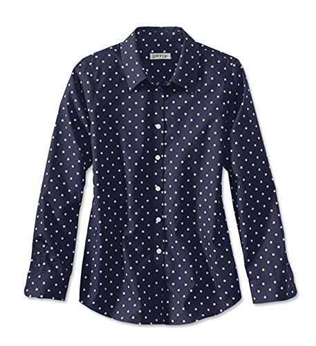 Orvis Women's Wrinkle-free Patterned Shirt, Navy Dot, 8