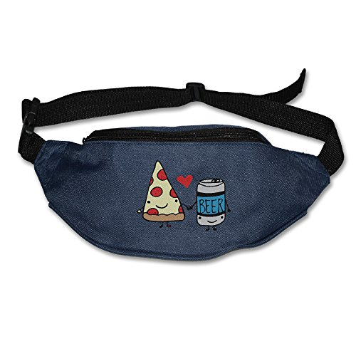 (Forbidden Love Pizza Beer Adjustable Fanny Running Waist Pack Bag Navy)