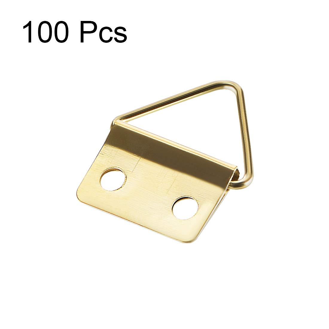 color dorado Juego de ganchos triangulares para colgar fotos 24 x 18 mm Sourcingmap 100 unidades