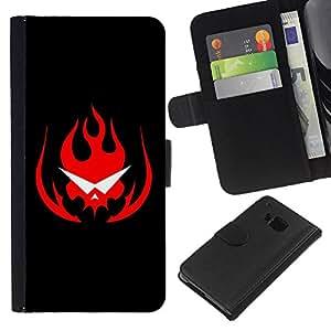 A-type (Flaming Skull Gafas) Colorida Impresión Funda Cuero Monedero Caja Bolsa Cubierta Caja Piel Card Slots Para HTC One M7