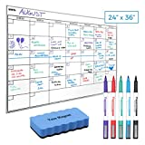 "Dry Erase Whiteboard Wall Calendar - 5 Markers & Eraser - Stain-Resistant 24"" x 36"" White Board Planner for Charting Monthly Meetings, Chores - Reusable Family Office Organization Chart"