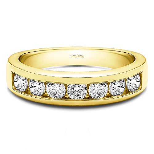 TwoBirch 0.35Ct Seven Stone Channel Set Wedding ring in 18k Yellow Gold White Sapphire(Size 3 to 15 in 1/4 Sizes)