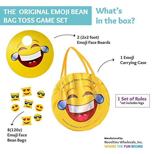 TheGag Cornhole Game for Kids Set-Bean Bag Toss Kids Children Family Party Fun 2 Emoji Boards 8 Emoji Bean Bags Carry Case Great Gift for Easter! Cornhole Indoor/Outdoor by TheGag (Image #1)