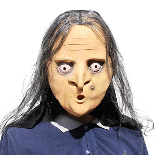 Novelty Creepy Scary Horror Halloween Cosplay Party Costume Latex Head Mask - Long Hair The Witch -