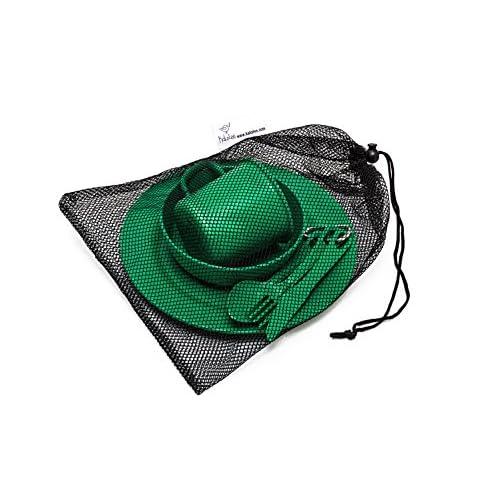Kit de cantine de camping en fibres de bambou, respectueux de l'environnement, biodégradable, léger, pratique, parfait pour scouts, camps de vacances, sortie scolaire, vacances en famille et randonnée