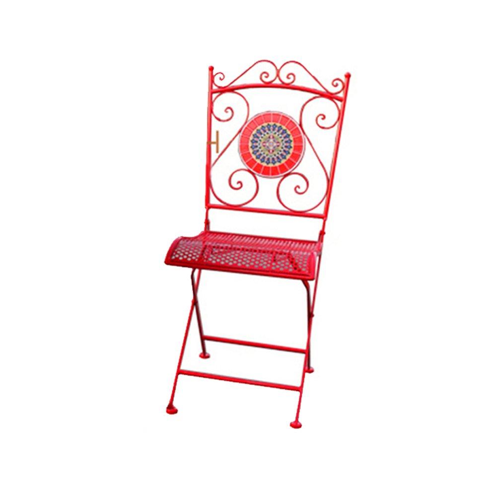 LXYFMS Europäische Schmiedeeisen Mosaik Outdoor-Balkon Freizeitmöbel Nachtisch Shop Café Tisch Und Stuhl Kombination Dreiteilig Klapptisch (Farbe : ROT, größe : One stools)