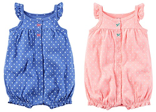 Carters Baby Girls 2 Pack Cotton Romper Creeper Set (Newborn, Blue Crab and Coral Octopus)