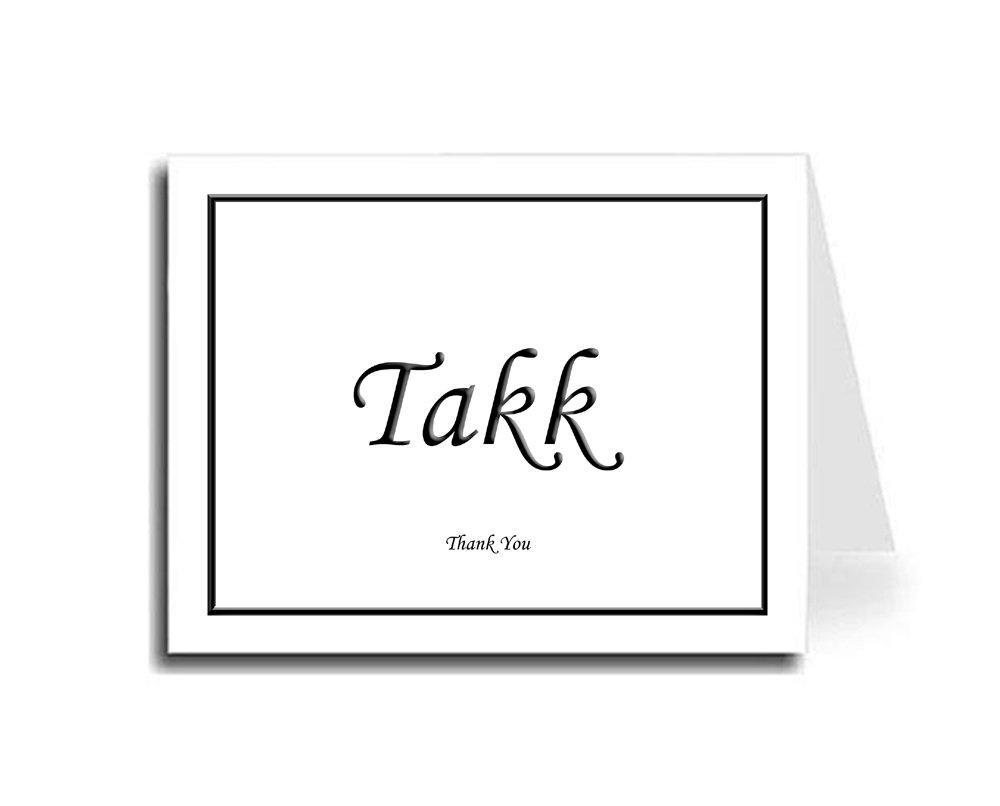 Artisan Decor Framed Black Norwegian Takk & English Thank You Card Set of 10 (Monotype Corsiva Font)