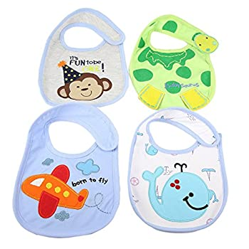Artempo 4 Pcs Toddler Bibs Baby Bibs with Velcro & Waterproof Backing, Feeding Drool Teething Bibs for Infant Boys and Girls