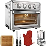 Cuisinart Convection Toaster Oven Air Fryer with Light Silver (TOA-60) with Mini Food Processor, 2-Piece Knife Set, Bamboo Cutting Board and Oven Mitts