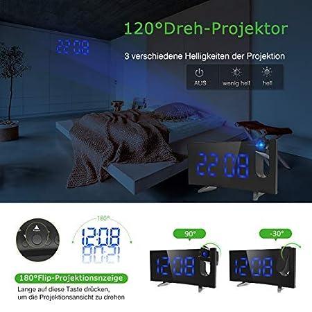 Nueva versión) Despertador de proyección, pictek Despertador ...