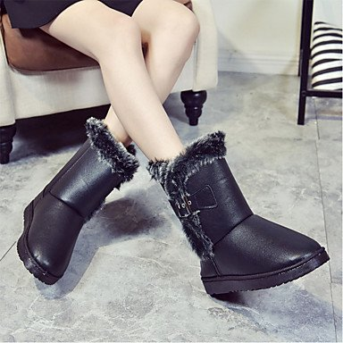 Women's Shoes PU Winter Comfort Combat Boots Boots Flat Heel Round Toe Split Joint For Casual Khaki Black Black d24IB2