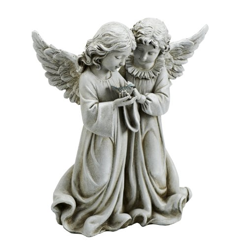 Josephs Studios Garden Figure, 66745 Two Angels Holding a Bird, 12.25 inches tall ()