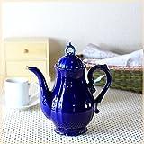 アンティーク調の2~3人用ティーポット 限定色:紺 北欧 アンティーク風 ティーバック シノワズリ調 国産 カフェ食器 青い食器