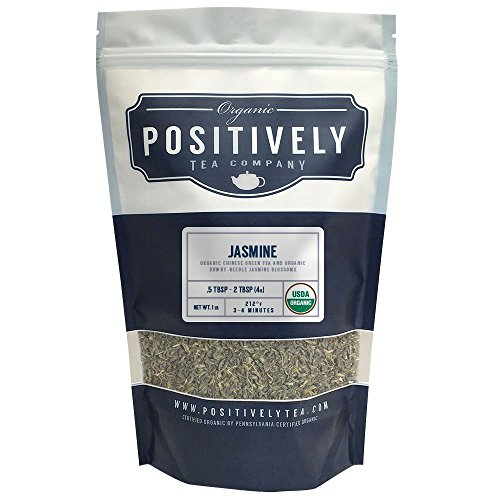 Positively Tea Company, Organic Jasmine Green, Green Tea, Loose Leaf, USDA Organic, 1 Pound Bag
