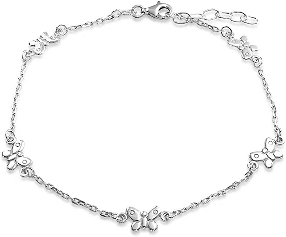 AONED Butterfly Ankle Bracelet for Women Teen Girls 14k Real Gold Plated Sterling Silver Adjustable Figaro Chain Beach Jewelry Gifts 10.5 Inches