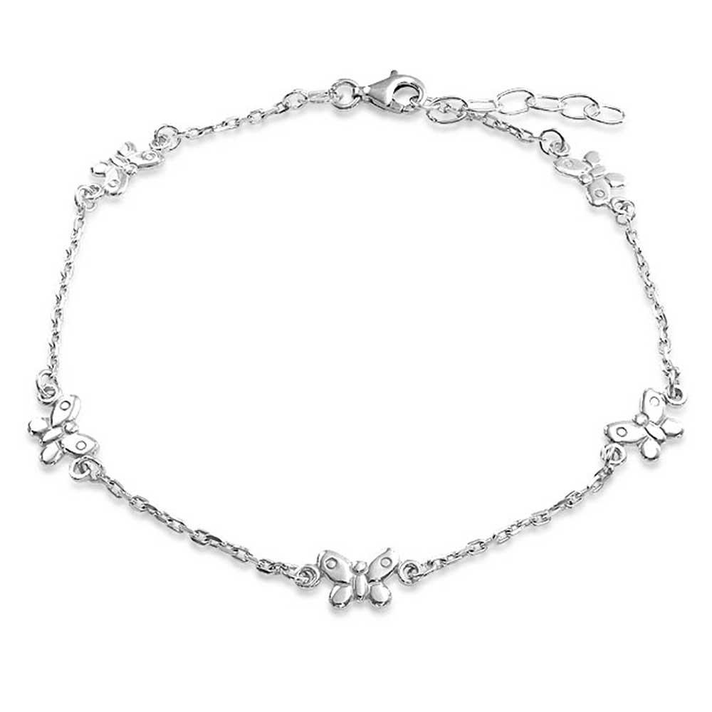Bling Jewelry Sterling Silver Rolo Chain Ankle Bracelet Butterfly Anklet SRN-DJ88446A