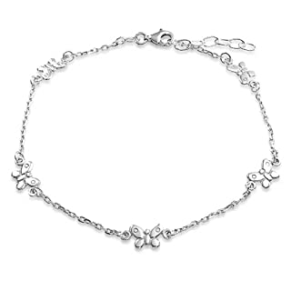 Feelontop Vintage Silver Chain Anklet Hollow Out Love Heart and Little Flower Charms Boho Fashion with Jewelry Pouch