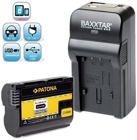 Bundlestar Patona - Cargador 4 en 1 y batería para Nikon EN- EL15 ...
