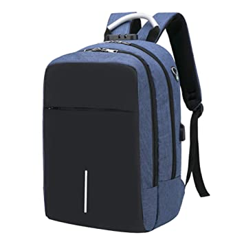 RJEU Mochilas Escolares - Mochila Antirrobo para Portatil 15.6 Pulgadas con USB Puerto y Puerto de Auriculares, Multiusos Daypacks Impermeable (Azul3)