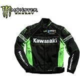 カワサキ バイクジャケット★Monster Energy モンスターエナジー ライダース プロテクター装備KAWASAKI サイズL