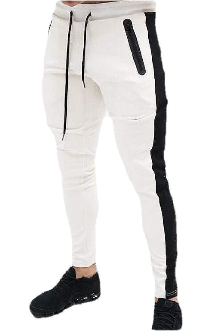 YYG Men Color Block Elastic Waist Athletic Drawstring Sweatpants Pants