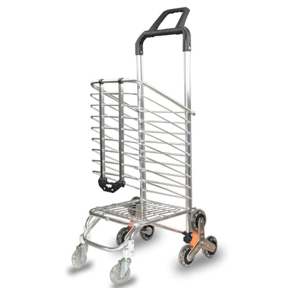 LNYJ Folding Shopping cart Triangle Wheel Buy Dish car Small Pull a cart Climbing Portable Basket Trailer Old People Small cart Aluminum Alloy Rod Multifunction Trolley