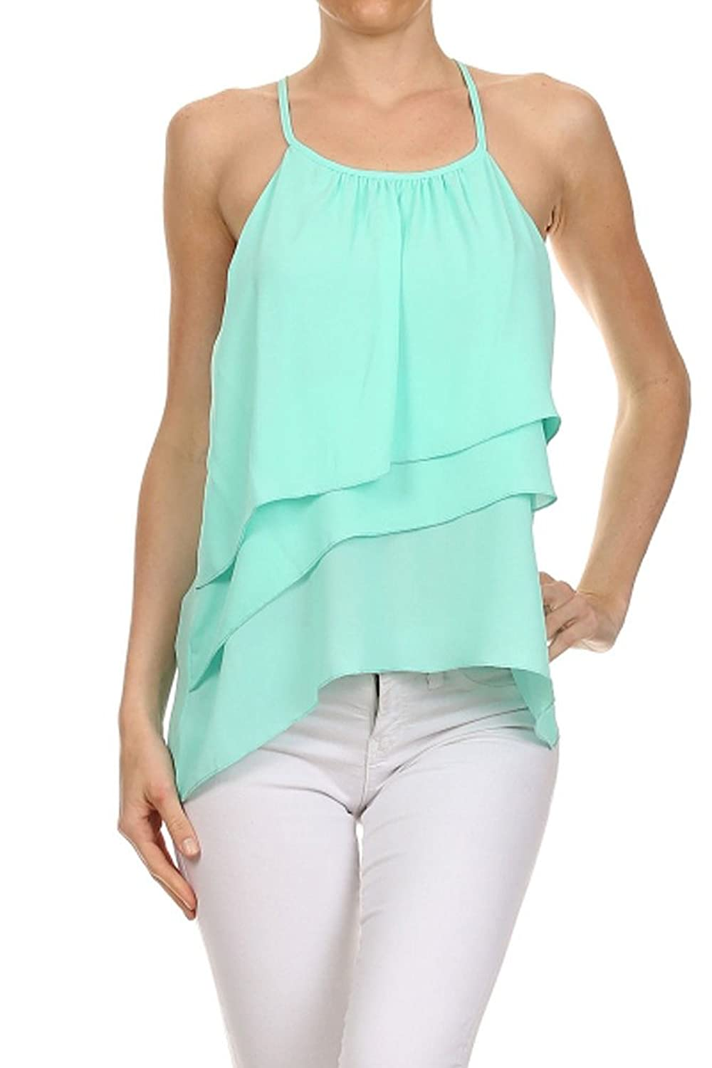 12 Ami Georgia Solid Layered Chiffon Cover-Up Cami Top - Made in USA
