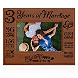 Kate Posh 2016-2019 Our 3rd Wedding Anniversary, 3rd, 3 Years Anniversary, 3 Years of Marriage, Gifts for Couple, Third Anniversary - Engraved Leather Picture Frame (4x6 Horizontal-Rawhide)
