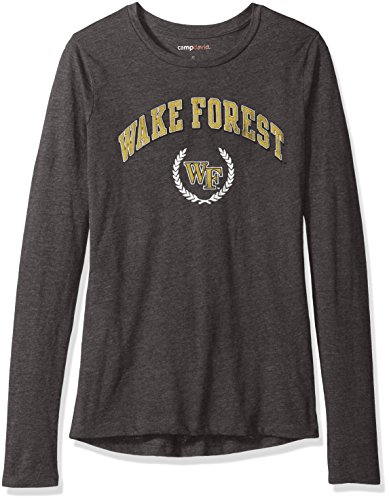 NCAA Wake Forest Demon Deacons Women's BFF Long Sleeve Crewneck Tee, Medium, Charcoal Heather
