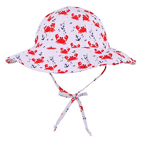 (SimpliKids UPF 50+ UV Sun Protection Wide Brim Baby Sun Hat,Crab,12-24)