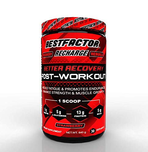 BESTFACTOR Recharge Post Workout Protein Powder with BCAA, Creatine and L-Glutamine by Best Factor. Muscle Building Recovery Powder for Men and Women (Strawberry). Reduce Fatigue - 30 Servings