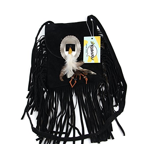 Kuang Women's Fashion Suede Tassel Shoulder Bag Fringed Crossbody Bag with Feather Decor