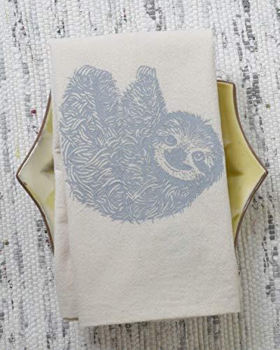 Lodge Napkin - Cloth Napkins - Set of 4 - Sloth Design in Grey - Organic Cotton