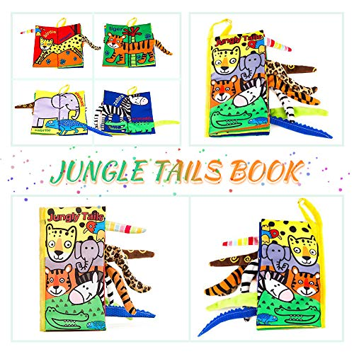 BeautyLifee Soft Cloth Baby Books Fabric Animal Tail Cloth Book Early Educational Toy for Toddler, Babies, Infants (Jungly Tail) (Jellycat Tails)