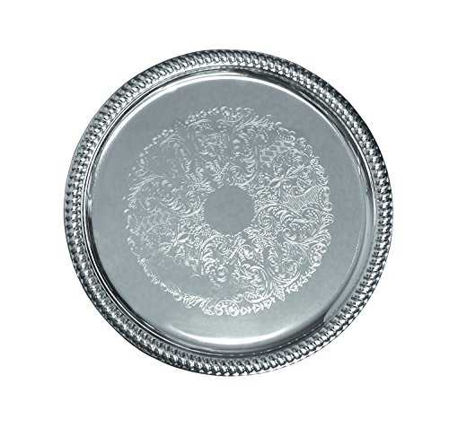 Update International CT-14R Embossed Serving Tray Round, 14 in, Stainless Steel