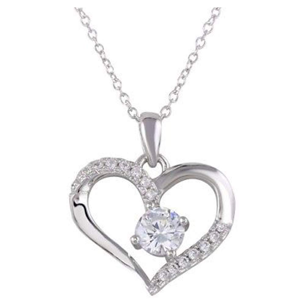 Women 14k White Gold Over Sterling Silver Round Diamond Heart Pendant Necklace