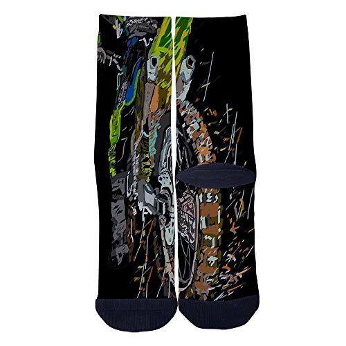 Oil Painting Art Motor Cross Socks Men's Women's Casual Socks Custom Creative Crew Socks Black