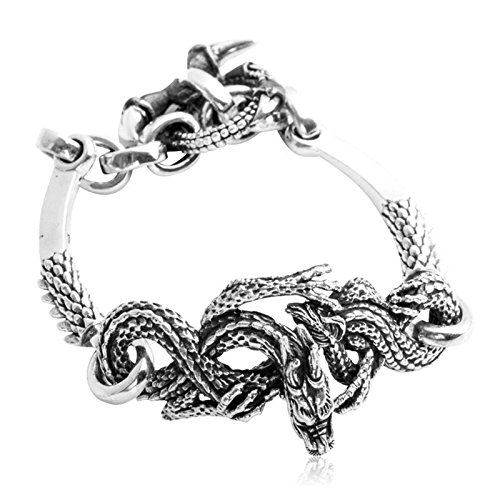 Daesar 925 Silver Bracelet For Men The Dragon King Bracelet Silver Chain Length:21CM by Daesar