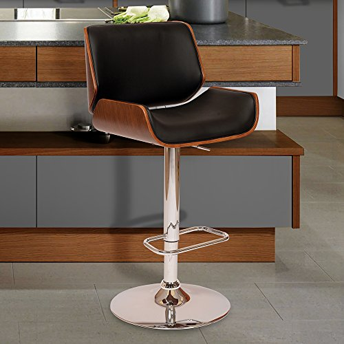 Armen Living LCLOSWBABLWA London Swivel Barstool in Black Faux Leather and Chrome Finish (Arms Contemporary Bar)