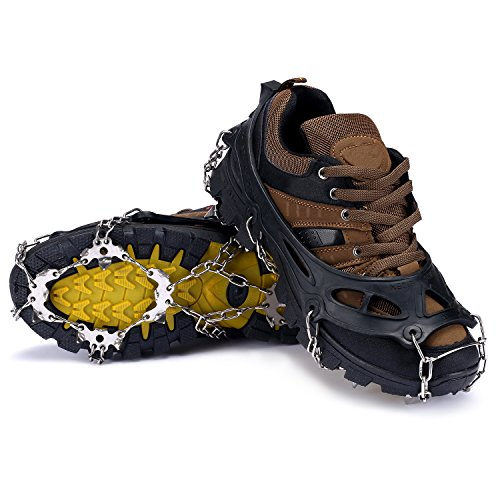 Hpory 1 Pair Spike Crampons, 19 Teeth Claws Footwear, Anti-Slip Traction Cleats Grips Shoes Cover with Stainless Steel Chain for Outdoor Ski Ice Snow Hiking Climbing (Black)