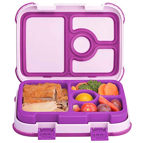 Leakproof Kids Lunch Box | 4-Compartment Bento Box for Kids | BPA-Free | School Lunch Container for Boys Girls | Children Travel On-the-Go Meal Prep and Snack Packing Food Storage Containers | Purple