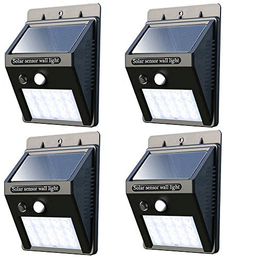 Solar Lights outdoor 20 LEDs solar wall lights outdoor Waterproof Solar Motion Sensor Light outdoor Solar Powered Motion Detector Lights for Garden, Fence, Patio Yard, Driveway(4 pack)