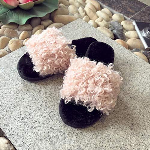 Tessuto Pelliccia Sandali Fondo da Alikeey Cinturino Pantofole Piatto Morbide Morbida in Infradito Soffici di Piatte Donna Romane Pantofole Sandali Sintetica Rosa tPAgqnwg