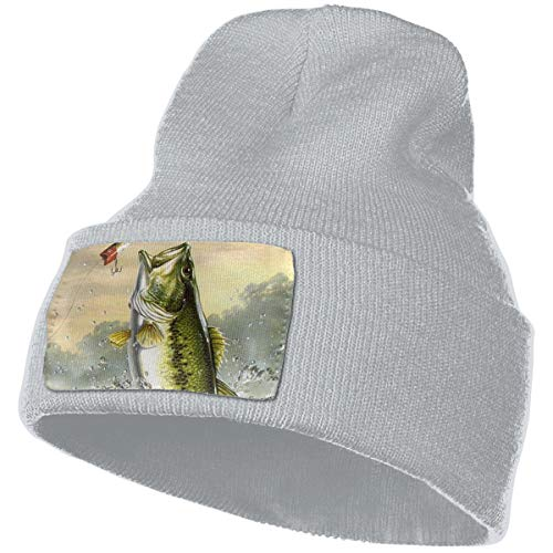 Mens Womens Winter Warm Hip-Hop Cotton Stretch Knit Beanie Cap Largemouth Bass Bass Jumping Out of Water Skull Hat Gray