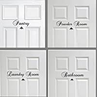 Laundry Room, Pantry, Bathroom or Powder Door Decor Vinyl Wall Decal Set of 2, You choose, mix and match Great House Warming Gift Wall Decor