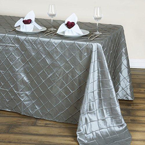 (LinenTablecloth Rectangular Pintuck Tablecloth, 90 x 132, Silver)